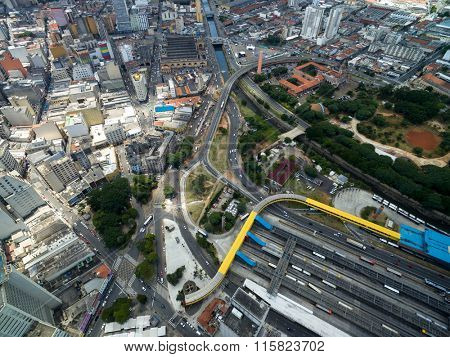 Aerial View of Dom Pedro II Bus Station and Municipal Market, Sao Paulo, Brazil