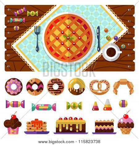 Dessert icons set with table
