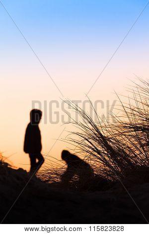 Silhouette Beach Scene