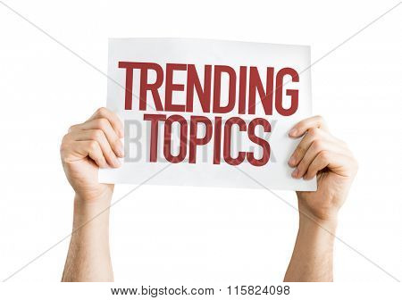 Trending Topics placard isolated on white