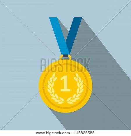 Golden medal flat icon