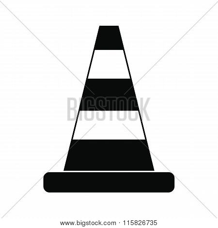 Cone traffic black simple icon