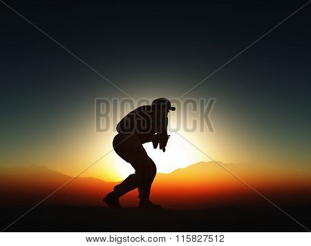 3D render of a soldier in combat pose against sunset sky