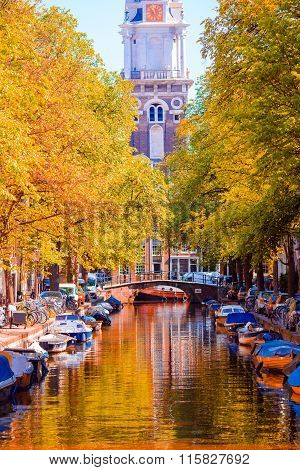 Beautiful old canal in autumn at Amsterdam, Netherlands