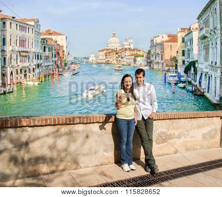 Couple In Love Making The Selfie Photo In Venice
