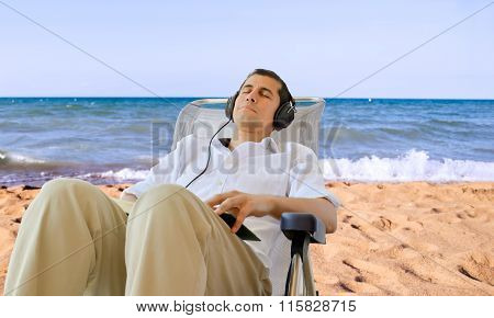 Resting At The Beach With Music