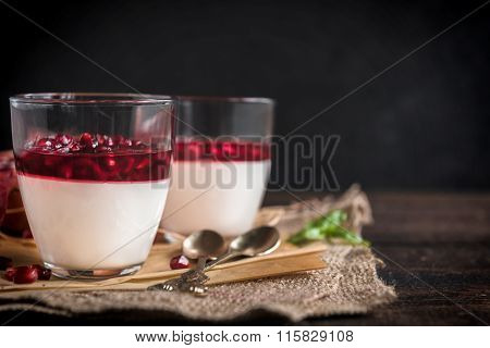 Served Panna Cotta With Pomegranate