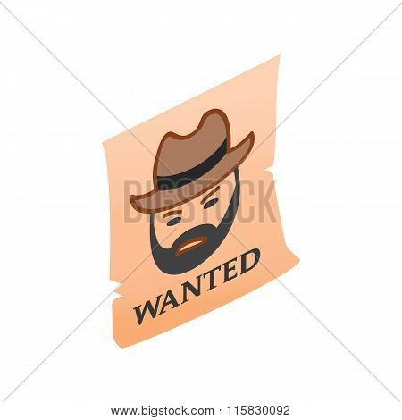 Vintage wanted poster isometric 3d icon