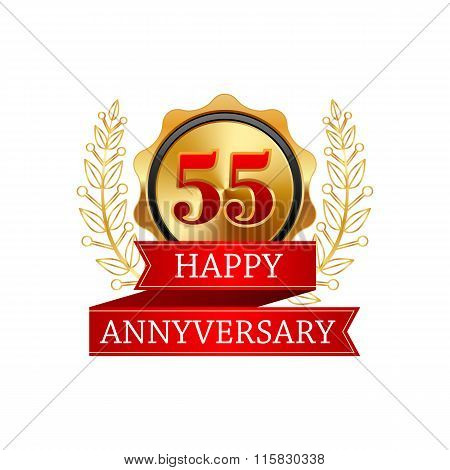 55 years anniversary golden label with ribbons