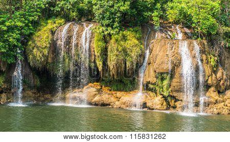 Waterfall view at the river Kwai, Kanchanaburi, Thailand.