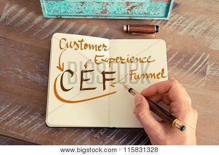 Handwritten Text Cef Customer Experience Funnel