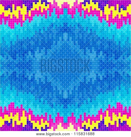 Small Pixels Psychedelic Colored Geometric Background