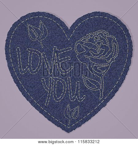Valentines Heart As Blue Jeans Denim Element. Vector Patch, Fragments On Pink Background.