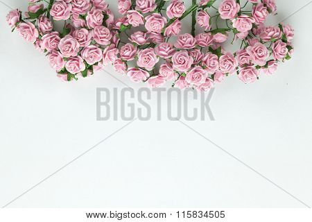 Light Magenta Roses In Isolated Background