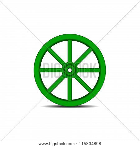 Vintage wooden wheel with shadow