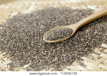 Handful Of Chia Seeds On Wood Spoon And Background