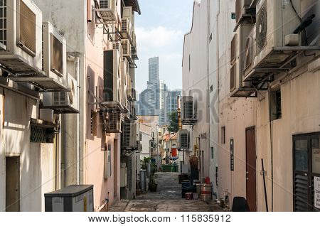Side street of Tanjong Pagar historic  district in Singapore