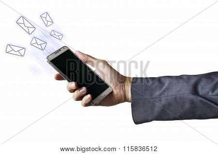 Businessman's Mobile Phone With Emails Being Sent Out. Email Concept