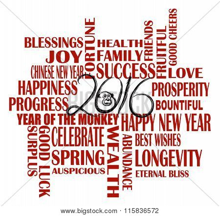 2016 Chinese Year Of The Monkey Word Cloud Illustration