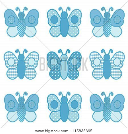 Butterflies In Gingham And Polka Dots, Pastel Aqua