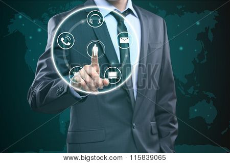 Touching Contact Us Concept on Visual Screen. Businessman pressing button