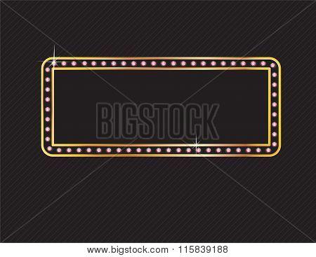 Rose Quartz And Gold Frame On Black