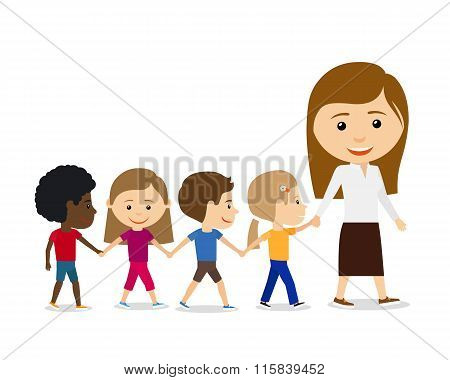 Teacher with kids on white background.