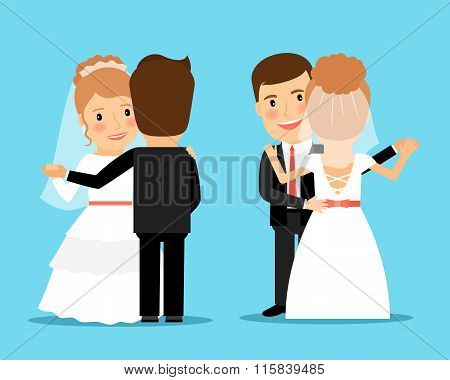Bride and groom dance vector illustration