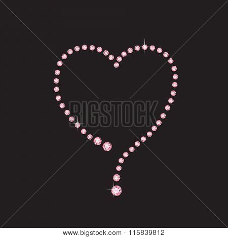 Rose Quartz Heart Frame On Black