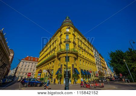 Vienna, Austria - 11 August, 2015: Walking aroundSingerstrasse Graben area, beautiful sunny day with
