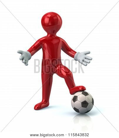 Red Cartoon Character Man Standing On A Soccer Ball
