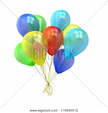 Colorful Balloons Over White Background