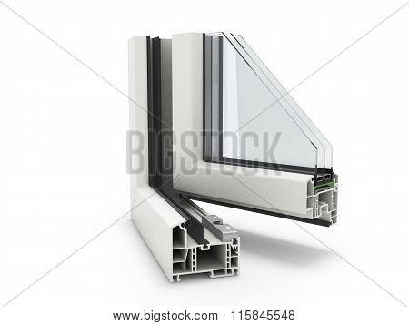 Open Plastic Window Profile Isolated Close Up