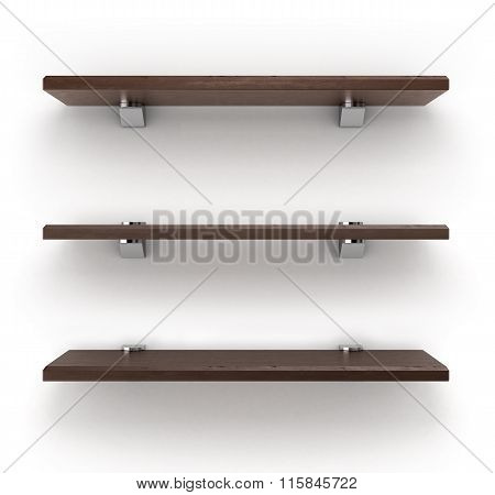 Darck Wooden Shelves Isolated On White