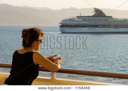 Sunset View Of Cruise Ship