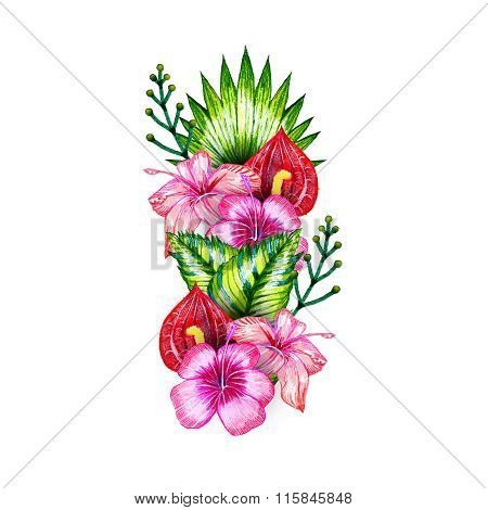 Exotic Flowers Set Tropical Composition, Pattern, Blank, For Textiles, Paper.