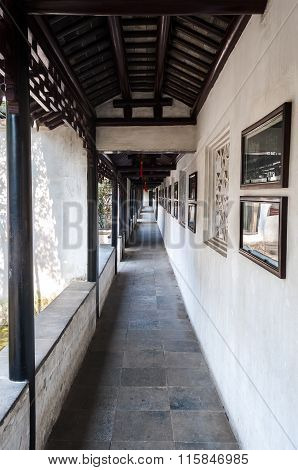 Covered Outdoor Walkway In The Lion Grove Classical Garden, Suzhou, China