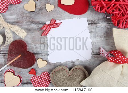Valentine Day background with blank ragged paper sheet