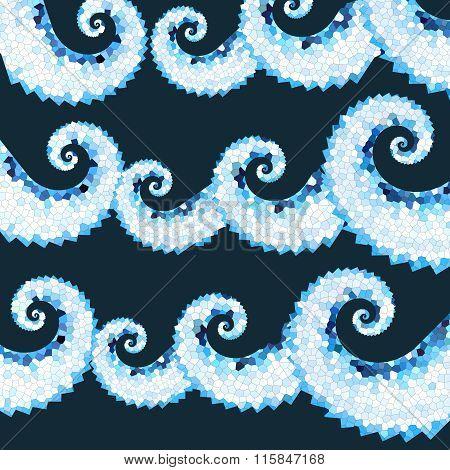 Dark Blue Mosaic Sea