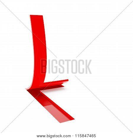 Letter L, 3d render