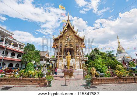 Exterior shot of Wat Buppharam, Chiang Mai, Thailand