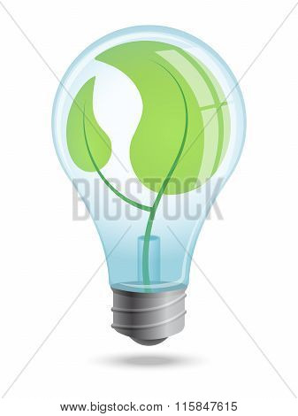 Light bulb with young shoots of plants inside the enclosure.