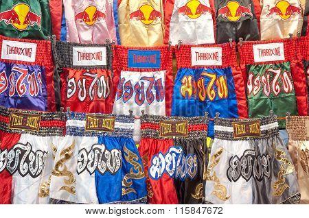 Thai Boxing Shorts On Sale At Patpong Night Market, Bangkok