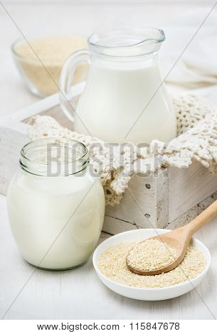 sesame milk in a glass