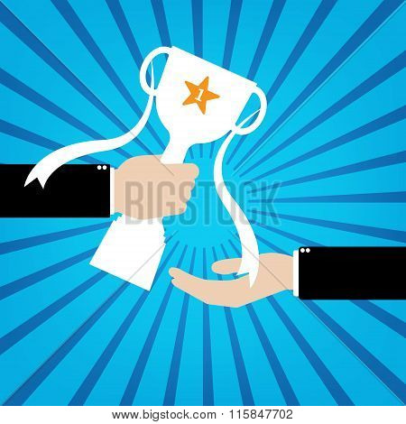 Boss Give The Trophy Number One Champion In Hand To Businessman On Blue Sunburst Background. Vector