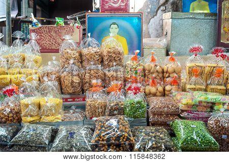 Dried goods on sale at a stall at Sampeng Lane market, Bangkok, Thailand