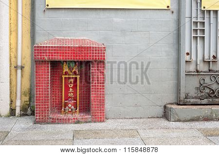 Small Shrine To The Earth God Tu Di On A Hong Kong Street