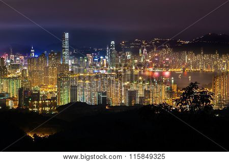 The Hong Kong Skyline Seen From Kam Shan, Kowloon