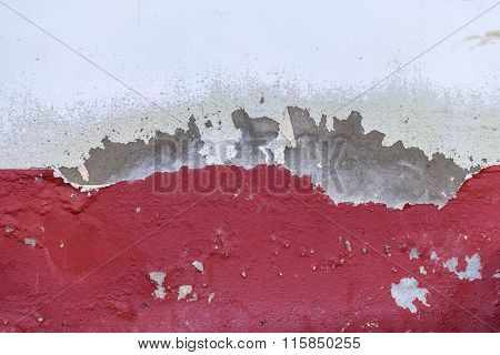 Scratched Color Of Building Exterior Cement Wall.