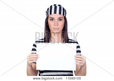 Serious Prisoner With Blank Paper